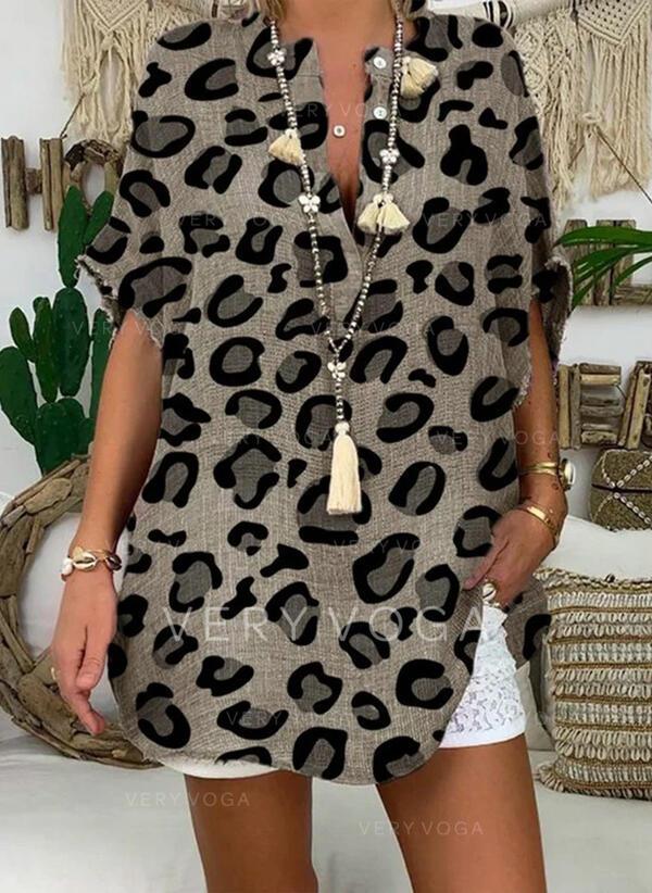 luipaard V-hals 1/2 Mouwen Dichtknopen Casual Overhemd