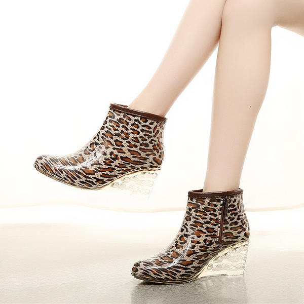 nouveau style fc8dd f5139 [€ 13.32] Femmes PVC Talon compensé Compensée Bottes Bottes de pluie  chaussures - VeryVoga
