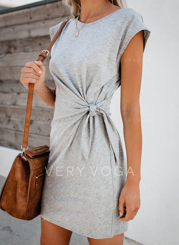 Solid Short Sleeves Bodycon Above Knee Casual Dresses