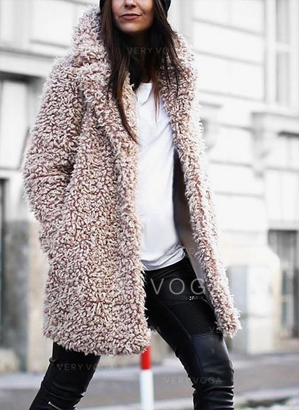 separation shoes 84638 ea8c3 [€ 47.58] Pelliccia ecologica Maniche lunghe Colore solido Cappotto di  pelliccia sintetica - VeryVoga