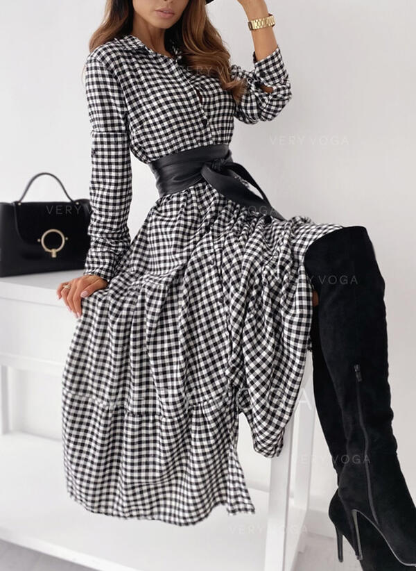 Plaid Long Sleeves A-line Shirt/Skater Casual Midi Dresses