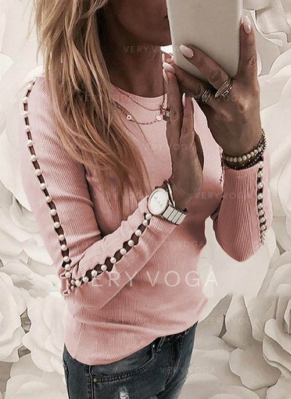 Solid Round Neck Long Sleeves Casual Elegant Knit T-shirts