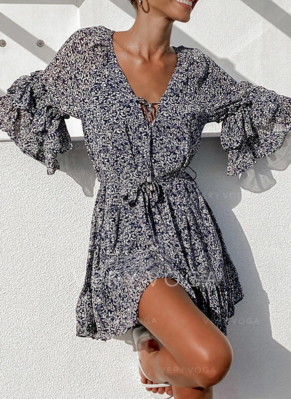 Print/Floral 3/4 Sleeves/Flare Sleeves A-line Above Knee Casual/Vacation Skater Dresses