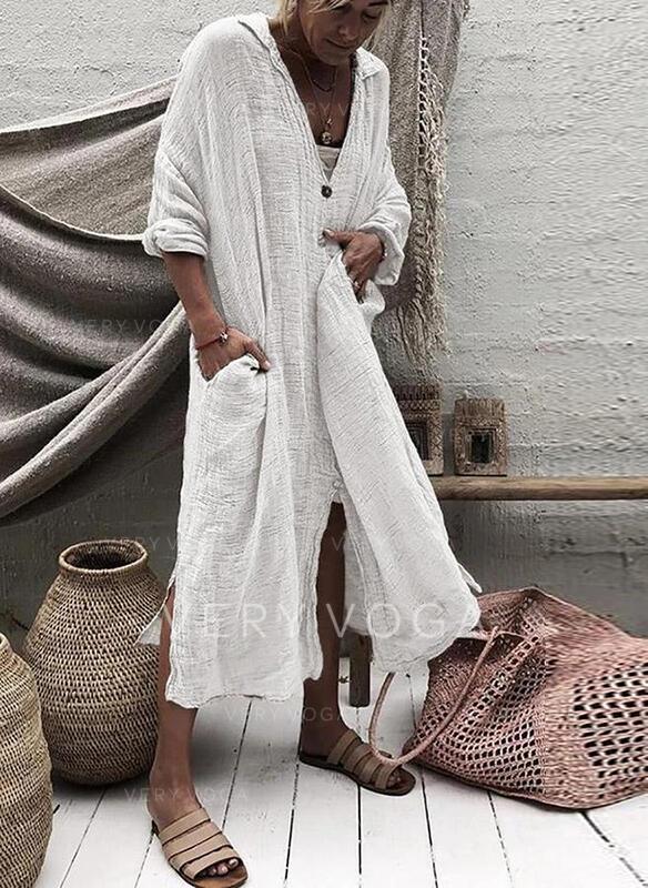 Solid Long Sleeves Shift Casual Midi Dresses