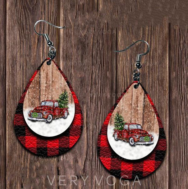 Drop Shape Christmas Alloy PU Women's Earrings 2 PCS