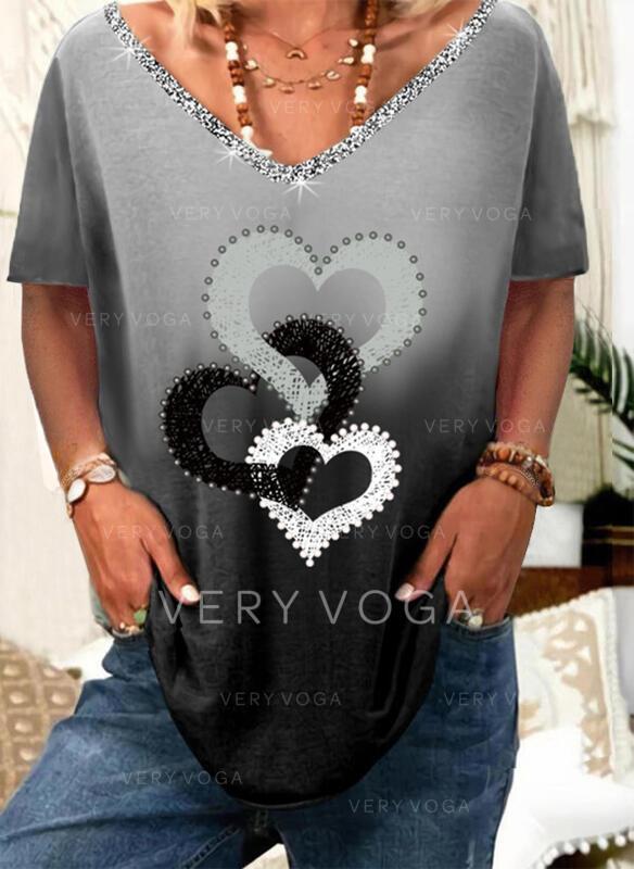 Gradient Hjerte Trykk paljetter V-hals Kortermer T-skjorter