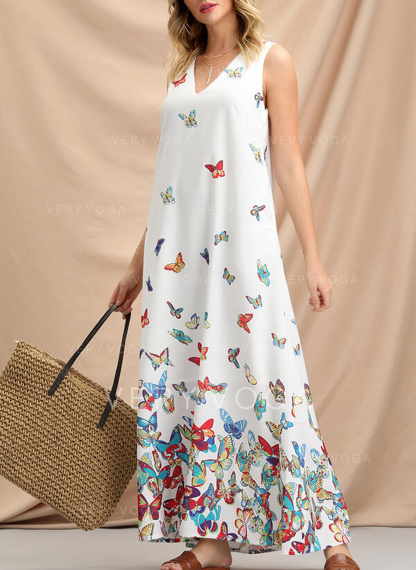 Floral/Animal Print Sleeveless Shift Casual/Boho/Vacation Maxi Dresses