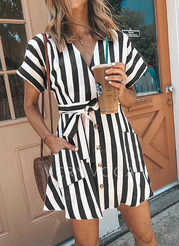 Striped Short Sleeves A-line Above Knee Casual Skater Dresses