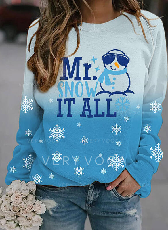 Print Figure Gradient Round Neck Long Sleeves Christmas Sweatshirt