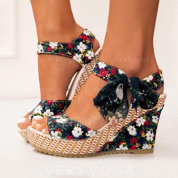 Σανδάλια Σφήνες Ανοιχτά σανδάλια toe Τακούνια Με Bowknot Κέντημα-επάνω παπούτσια