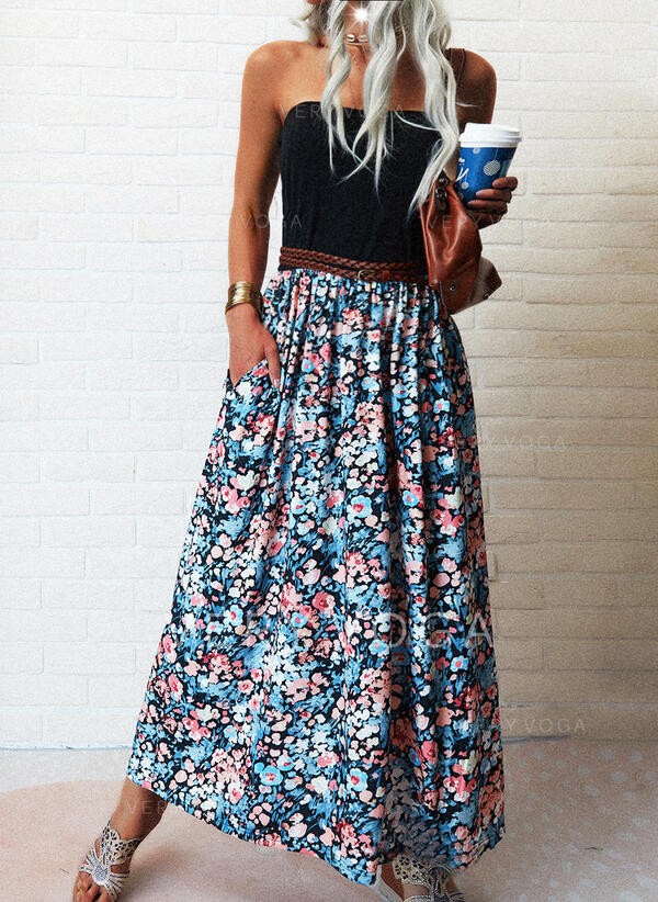 Impresión/Floral Sin mangas Vestido línea A Patinador Casual/Vacaciones Maxi Vestidos