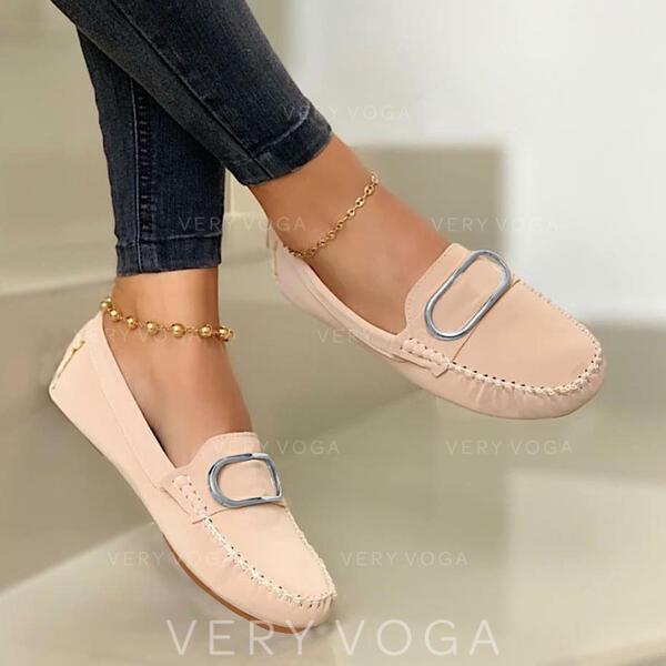 Mulheres PU Sem salto Sem salto Mocassins Escorregar em com Fivela Cor sólida sapatos