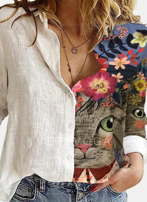 Impresión Floral Animal Solapa Manga Larga Casual Blusas