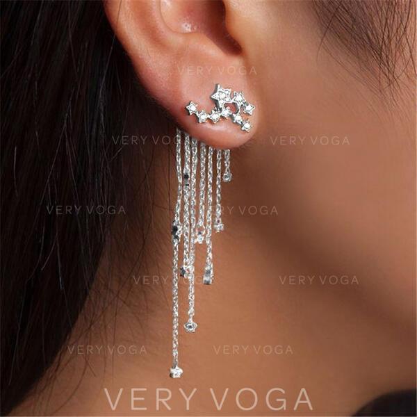 Kvaster Udformning Lysende Stjerne Legering Rhinsten Kvinder øreringe 2 stk