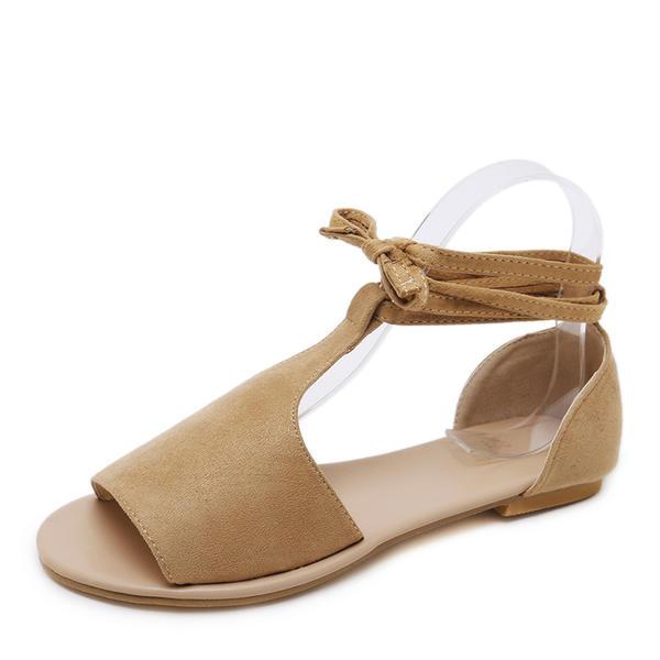 Női Szarvasbőr Lapos sarok Szandál Lakások Peep Toe -Val Lace-up cipő