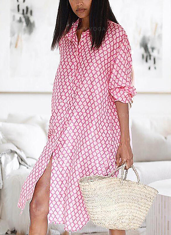 Print Long Sleeves Shift Knee Length Casual/Vacation Shirt/Tunic Dresses