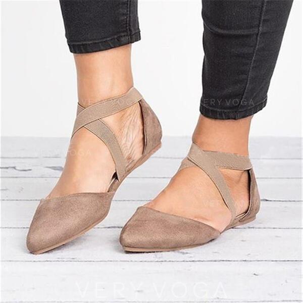 Mulheres Pano Sem salto Sem salto Dedo pontudo com Banda elástica sapatos