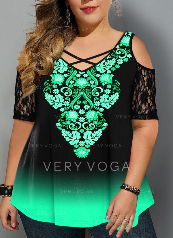 Lace Print Tie Dye Cold Shoulder 1/2 Sleeves Casual Plus Size Blouses