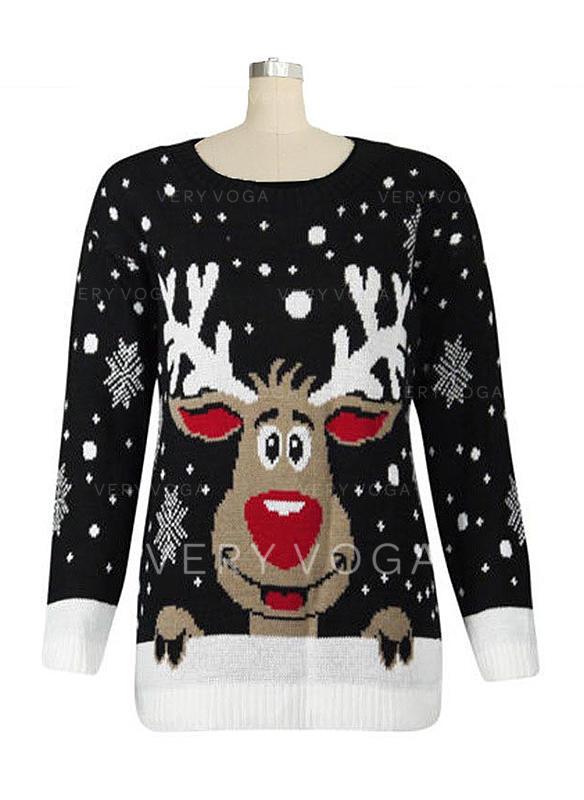 Ugly Christmas Sweater Cartoon.Us 24 99 Print Cartoon Round Neck Ugly Christmas Sweater Veryvoga