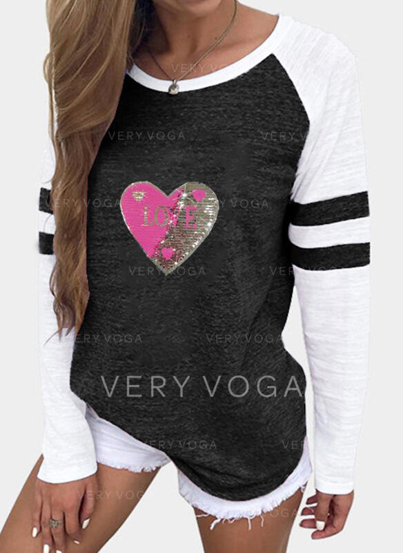 Figure Heart Print Sequins Round Neck Long Sleeves T-shirts