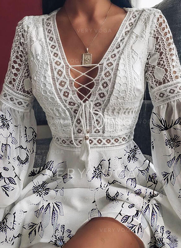 Lace/Print/Floral Long Sleeves/Flare Sleeves A-line Above Knee Casual Skater Dresses