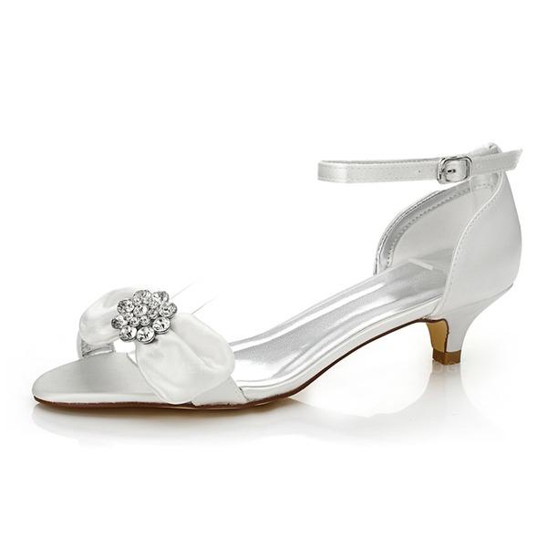 87352c8c4c74 Kvinder Satin Lav Hæl sandaler Sko Som Kan Farves med Bowknot Rhinsten
