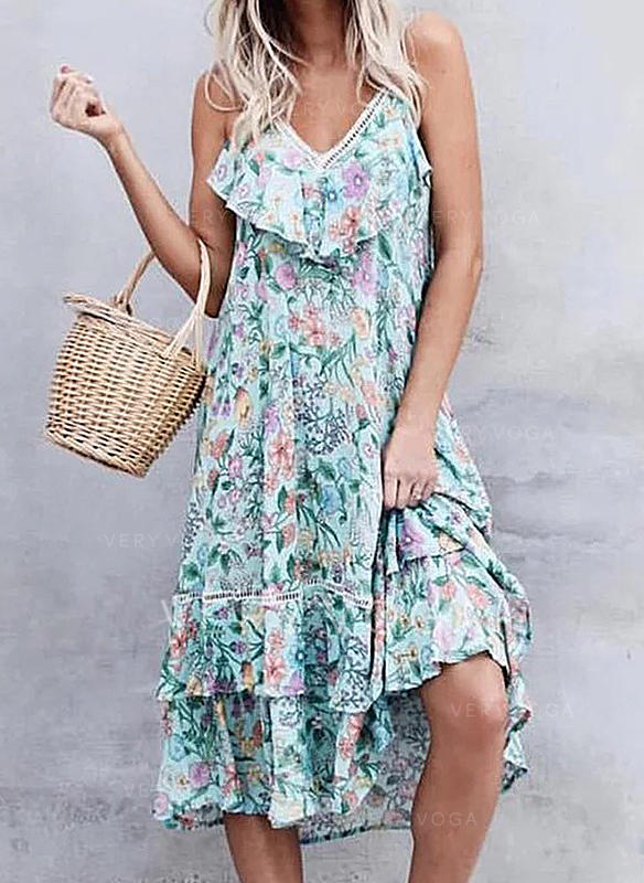 Print/Floral Sleeveless A-line Casual Midi Dresses
