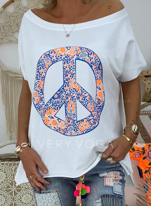 Print Off the Shoulder Short Sleeves Casual T-shirts