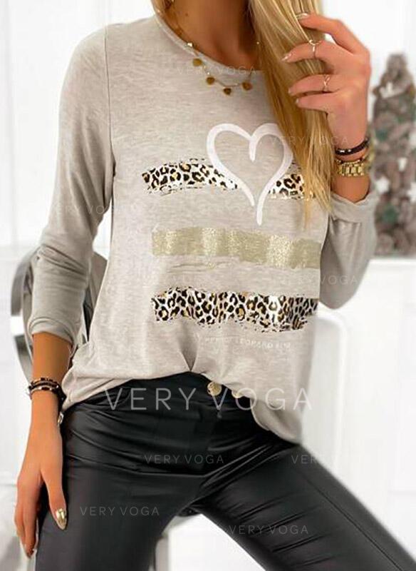 Drucken Leopard Herz Rundhalsausschnitt Lange Ärmel Freizeit T-shirts