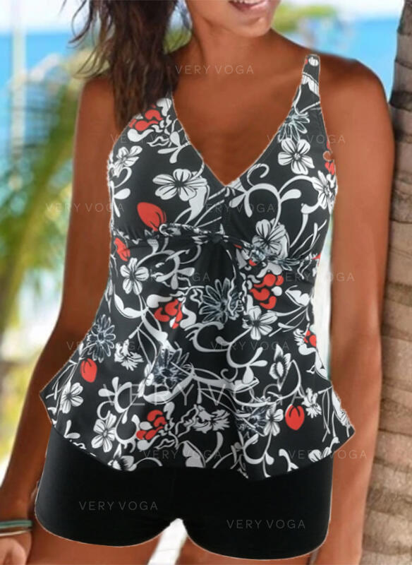 Blommig Tryck Rem V-ringning Sexig Vintage Tankinis Badkläder