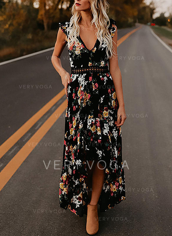 Lace/Print/Floral Short Sleeves A-line Asymmetrical Sexy/Casual/Vacation Dresses