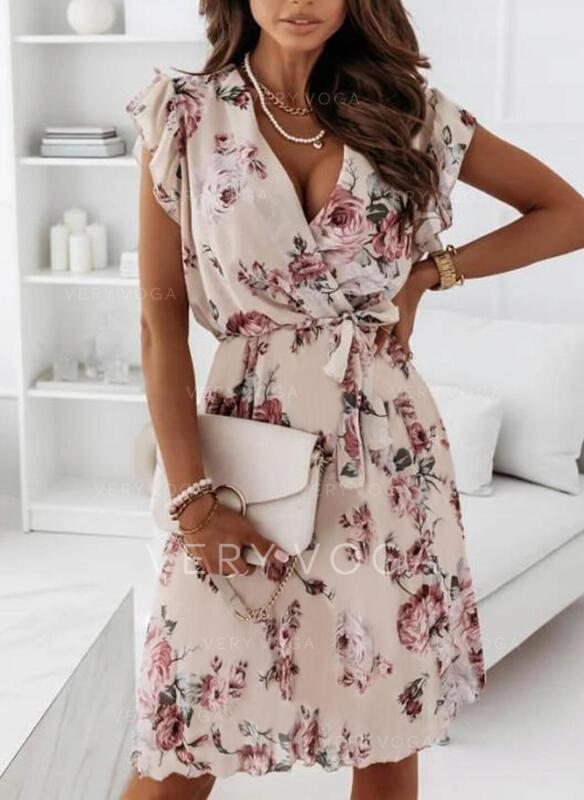 Print/Floral Short Sleeves A-line Above Knee Elegant Wrap/Skater Dresses