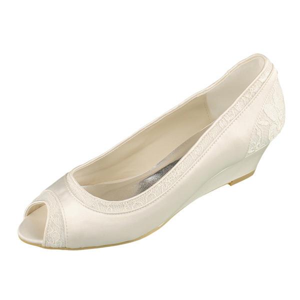 Frauen Lace Satin Keil Absatz Peep Toe Sandalen