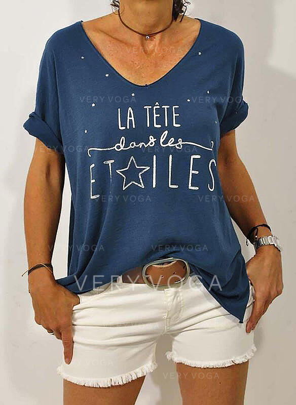 Print V-hals Korte Mouwen Casual t-shirt