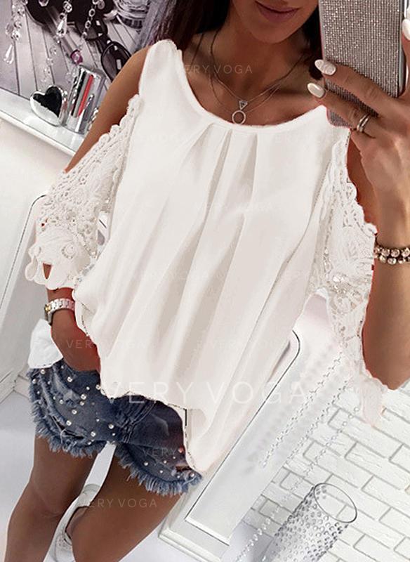 Jednobarevný Kulatý Výstřih 3/4 rukávy Neformální Sexy Bluze