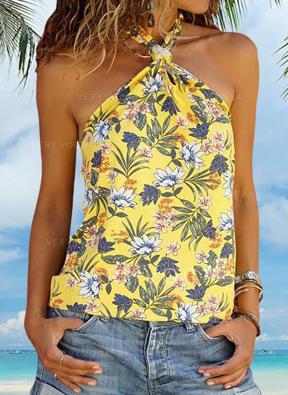 Print Floral Cold Shoulder Sleeveless Casual Sexy Tank Tops