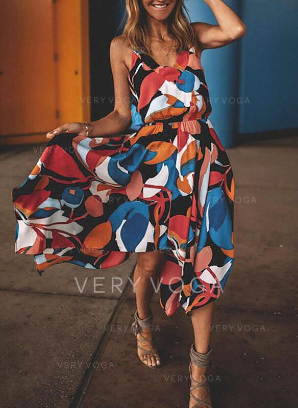 Nadruk geometryczny Bez rękawów W kształcie litery A Casual/Wakacyjna Midi Sukienki