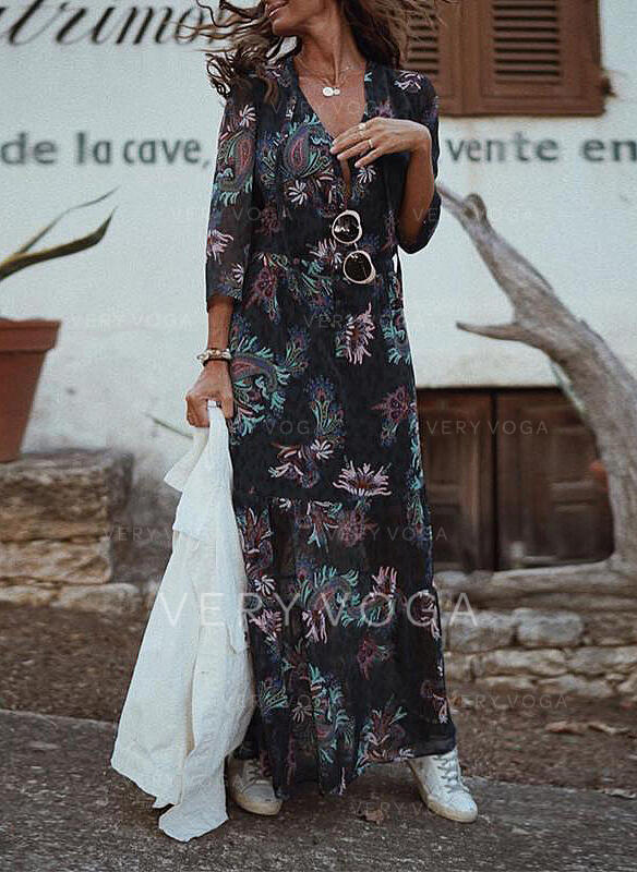 Print/Floral 3/4 Sleeves A-line Skater Casual/Elegant Maxi Dresses