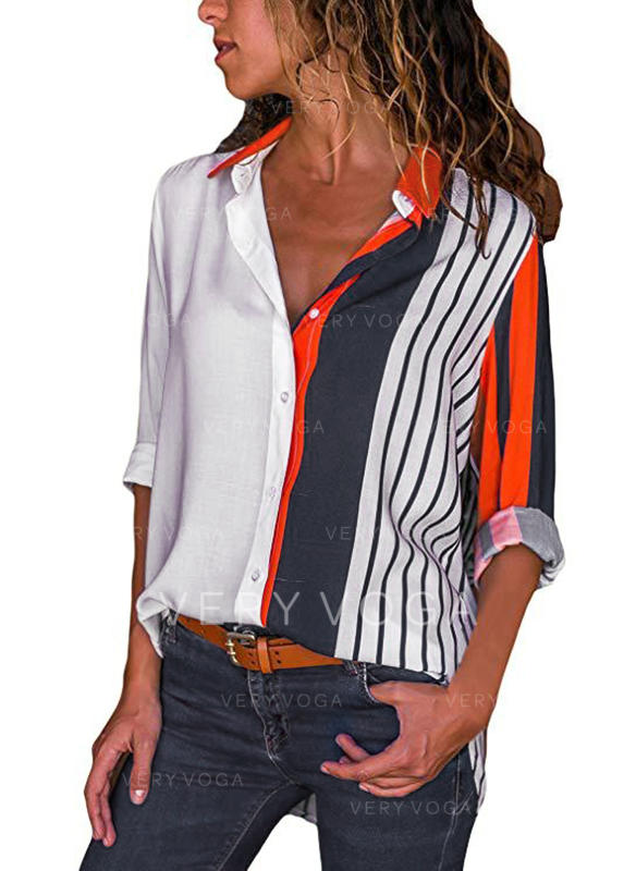 Striped Lapel Long Sleeves Button Up Casual Shirt Blouses