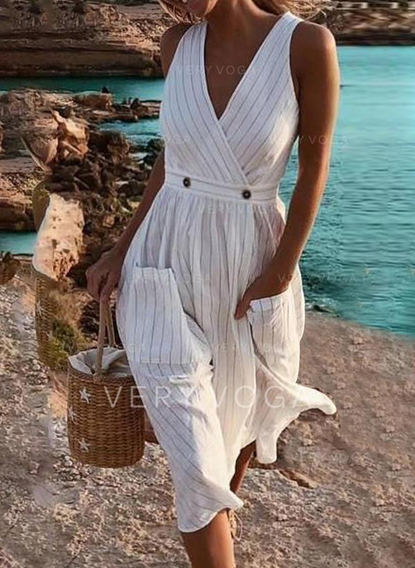Striped Sleeveless A-line Vacation Midi Dresses