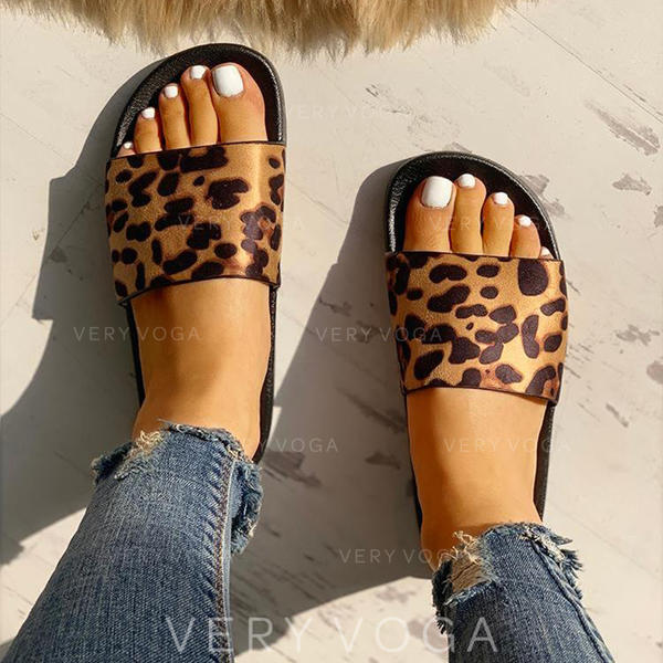 Dla kobiet PU Płaski Obcas Sandały Plaskie Otwarty Nosek Buta Kapcie Z Nadruk Zwierzęcy obuwie