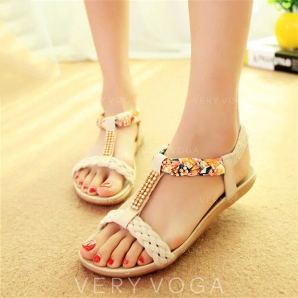 Women's Leatherette Fabric Wedge Heel Sandals Peep Toe Slingbacks With Rhinestone Satin Flower Chain Braided Strap Split Joint shoes