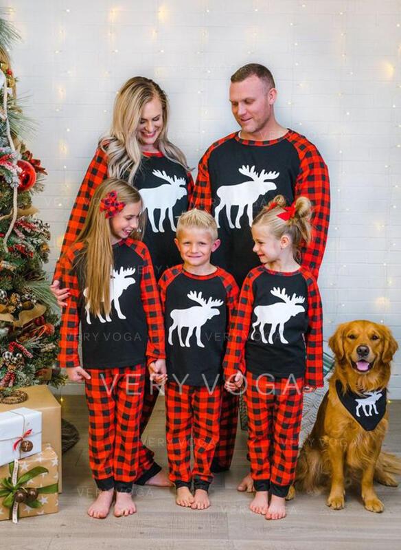 Τάρανδος Καρό ύφασμα Οικογένεια Εμφάνιση Χριστουγεννιάτικες πιτζάμες