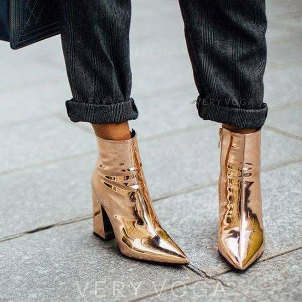 Vrouwen Patent Leather Chunky Heel Pumps Closed Toe Enkel Laarzen met Rits schoenen