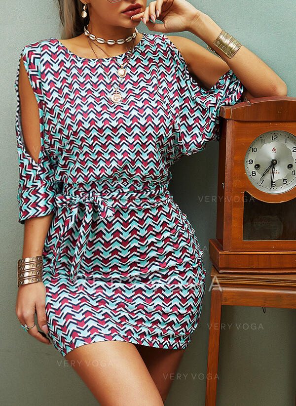 Print 1/2 Sleeves Bodycon Above Knee Casual/Elegant Dresses