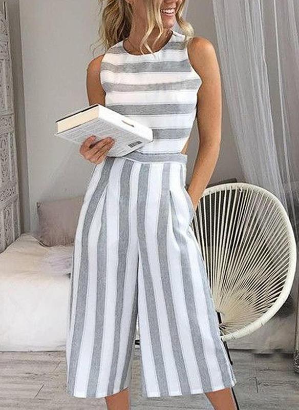Striped Sleeveless Midi Casual Dresses