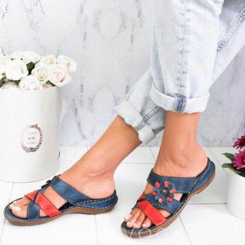 Γυναίκες PU Επίπεδη φτέρνα Σανδάλια Διαμερίσματα Με Λουλούδι παπούτσια