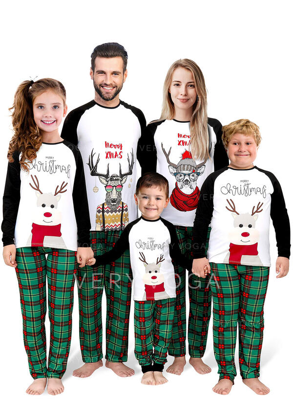 Reindeer Color-block Plaid Letter Family Matching Christmas Pajamas