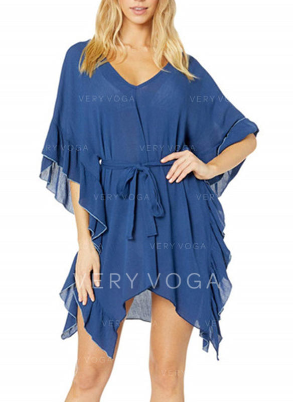 Solid Color V-neck Beautiful Cover-ups Swimsuits