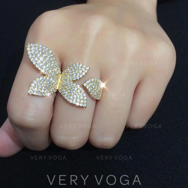 Shining Zircon With Zircon Women's Fashion Rings (Sold in a single piece)